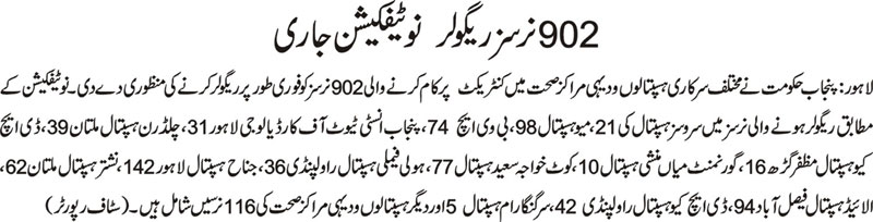 Punjab Health Deprtment - 902 Nurses became permanent - Dailt Aajkal Lahore 17-11-2010