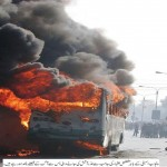 Lahore - PPLA Protest - Bus Burnes by students - Daily aajkal Lahore 9-12-2010