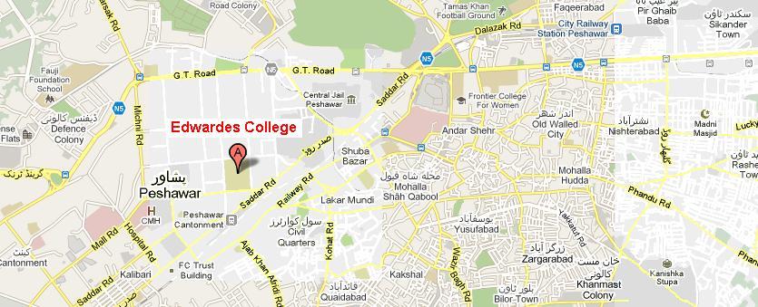 Location Map of Edwardes College Peshawar