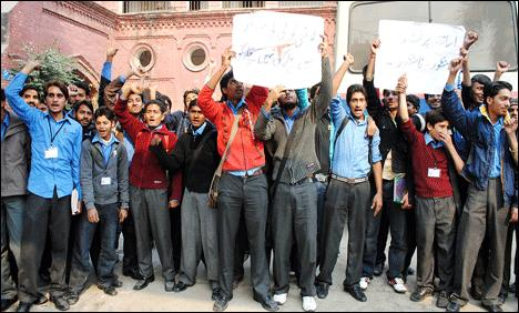 Multan - Students Protesting against Autonomy for Colleges in Punjab on December 11 2010 Saturday in Kachehry Chowk Multan