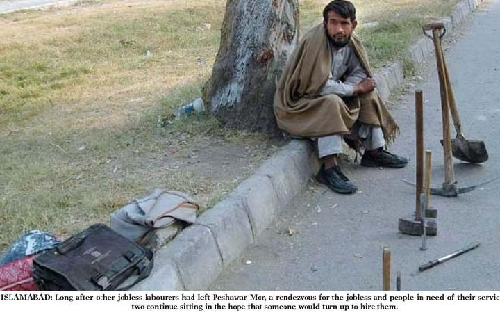 Umar Gul sitting besides the road of Islamabad - Unskilled workers left in the cold