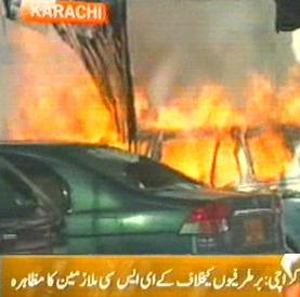 Karachi: Sacked KESC Employees Protest, Set Ablaze Cars