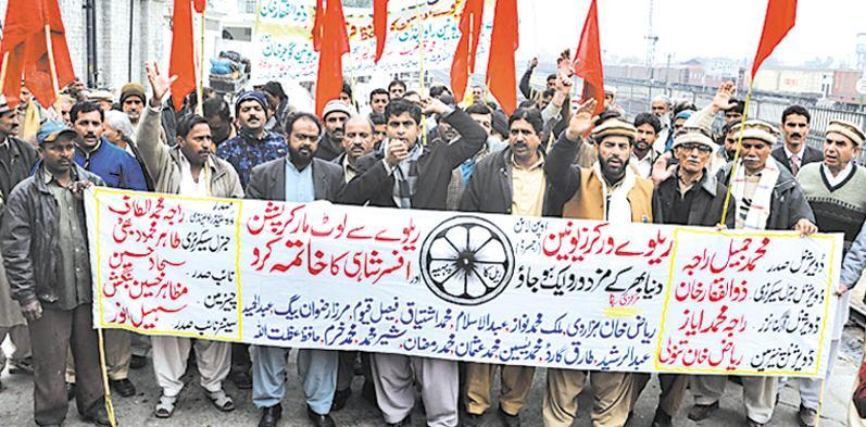Railway Workers Union Protest at Rawalpindi Station pic