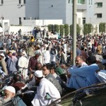 kesc sacked employees protests in front of Head Office in Karachi