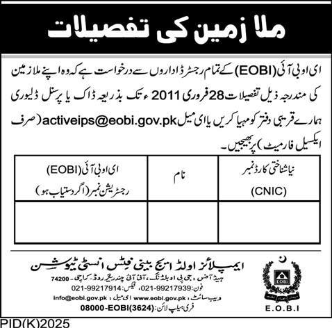 EOBI Required Employees Details from Registered Institutes till Feb 28, 2011