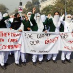 Fatima Memorial Hospital Lahore Nurses protest in front of Punjab Assembly Hall
