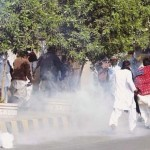 Sindh Education Dept employees ran on Shell Fire at Karachi Press Club