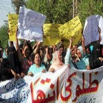 Lady Health Workers hold a protest demonstration for their demands