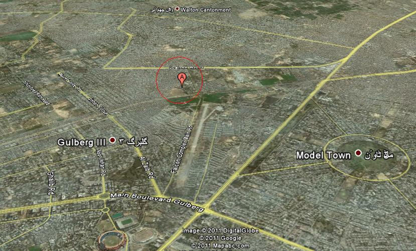 Satellite View of Lahore showing Civil Services academy (middle)
