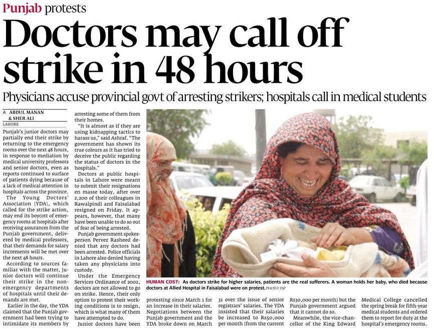 Doctors Strike May Call Off in 48 Hours - Daily Express Tribune April 3, 2011