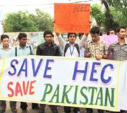 PhD Scholars & Students Protest in Lahore for HEC