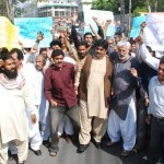 PTV Employees Protest against Geo News at Press Club Lahore (pic)