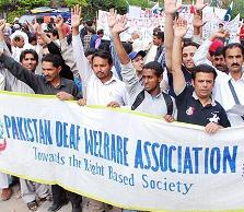 Pakistan Deaf Welfare Association Protest for Quota in Jobs