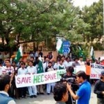 Teachers & Student protest on closing HEC in Islamabad