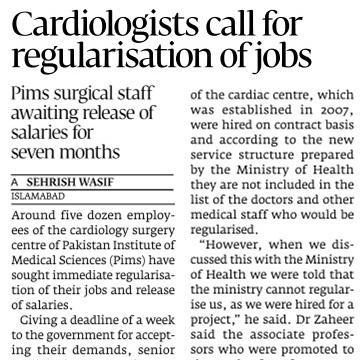 PIMS Cardiologists demands regularization of Jobs