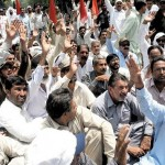 WAPDA Hydro Electric Labour Union Dharna Headed by Khurshed Ahmad at Mall Road Lahore (17-5-2011) Pic
