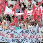 Workers Trade Unions Rally at Mall Road Lahore 2