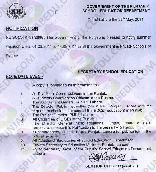 Notification of Punjab Summer Vacation 2011