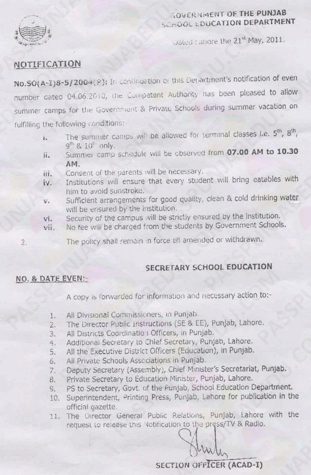 Punjab Summer Camp Notification 2011