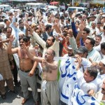 WAPDA Pegham Union Protest agaist ban of free unit facility at Mall Road Lahore