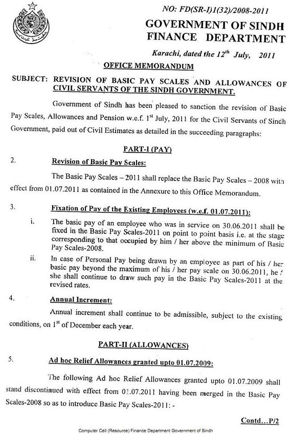 NOTIFICATION OF BASIC PAY SCALES 2011 AND ALLOWANCES OF CIVIL SERVANTS OF THE SINDH GOVERNMENT