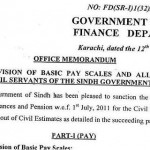 Sindh Notification Pay Scales 2011, Increase in Allowances & Pension 8