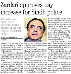 Karachi – Zardari approves salary increase for Sindh police