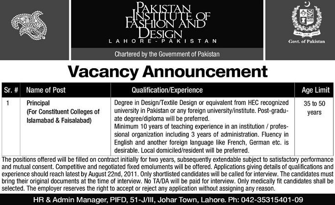 Job in Pakistan Institute of Fashion And Design Lahore