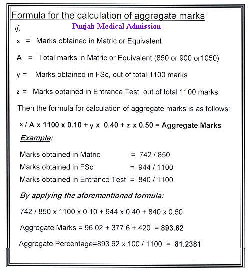 Punjab medical Admission 2011 – Formula for calculation of Aggregate Marks