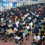 Students appear in admission test at the University of Engineering and Technology on Sunday
