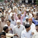 LAHORE Railways workers protesting for pays