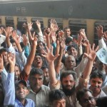 Pakistan Railway workers protest at the Cantt station in Karachi
