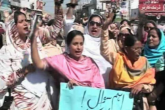 Lady Health Workers (LHWs) protest for salaries across Punjab
