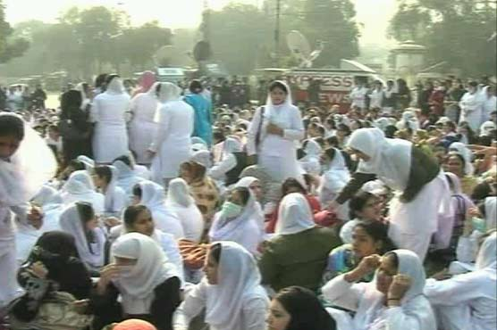 Punjab Nurses Protest outside Press Club Lahore