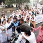 Punjab Nurses Protest in Lahore on 24-11-2011