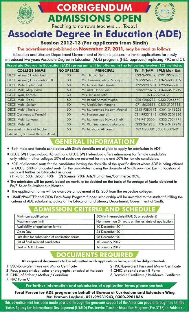Associate Degree in Education (ADE) Admission in Sindh