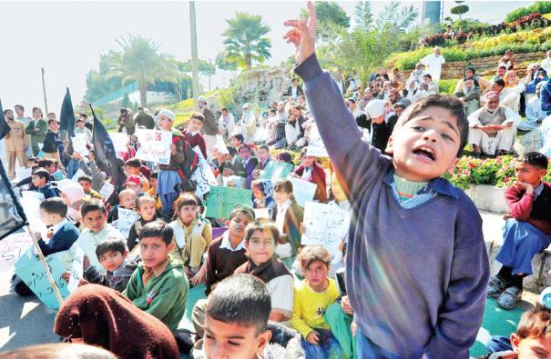 KESC Workers Children Protest in Karachi against jobs sackness