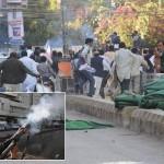 NADRA Employees Protest in Karachi - teargas shell