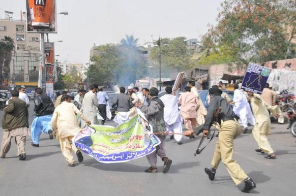 NPIW Employees Protest in Karachi & Police baton charge