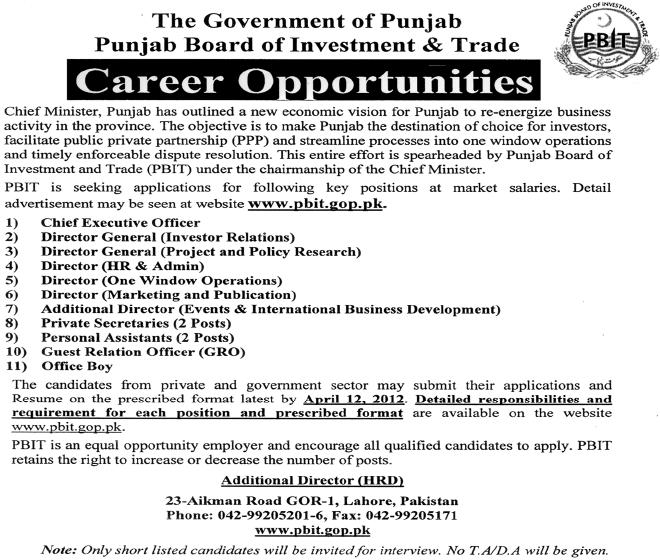 Jobs in PBIT – Punjab Board of Investment & Trade