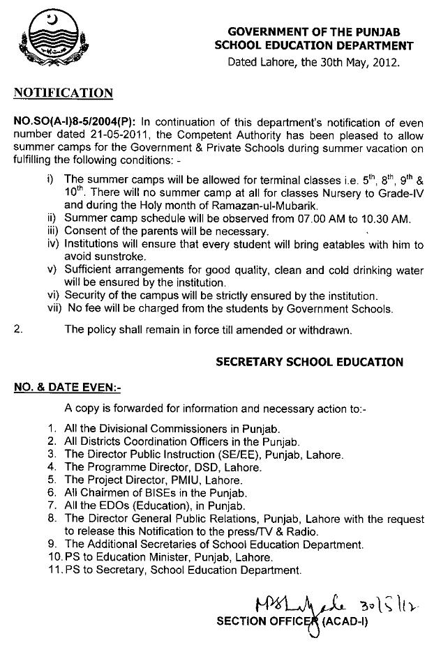 Summer Camps Notification 2012 in Punjab Schools (Government & Private)