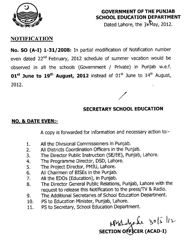 Notification Summer Vacation 2012 Punjab Education Department (Schools & Colleges)