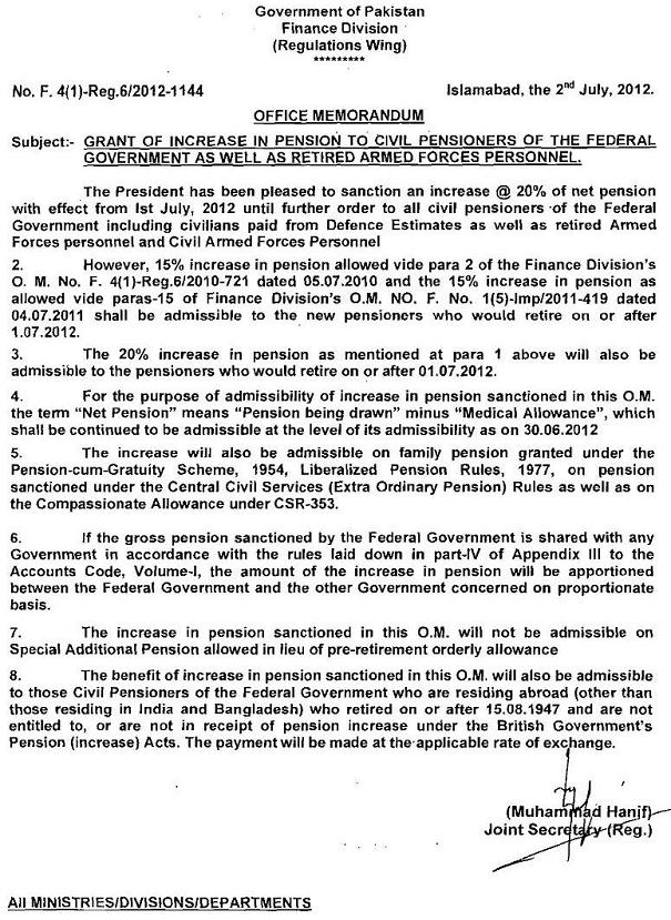 Govt Pensioners Pension Increase Notification 2012 issued by finance division on 2/7/2012