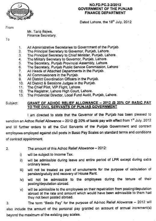 Punjab Govt Employees Adhoc Relief Allwance Notification 2012