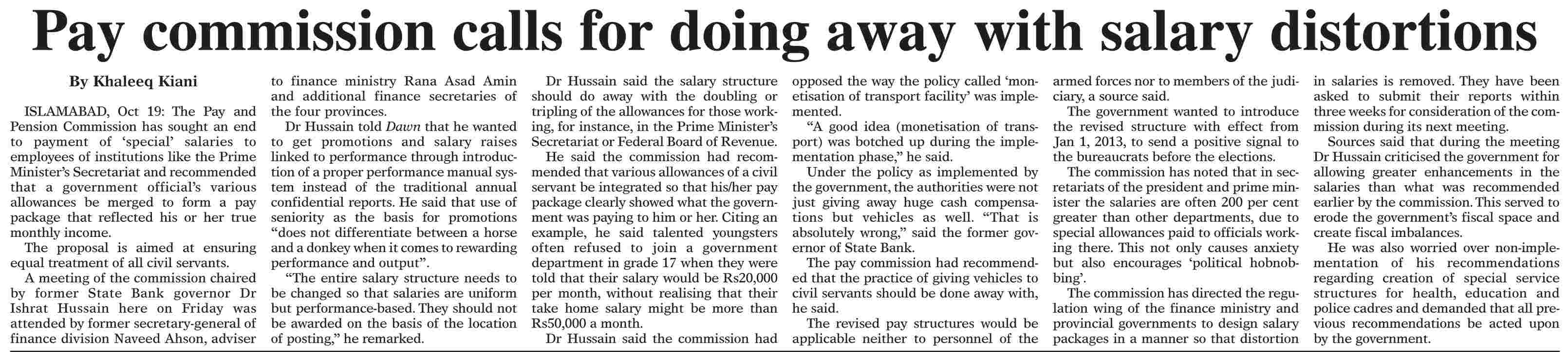 Daily Dawn Updates on Unified/Revised Pay Scales 2012