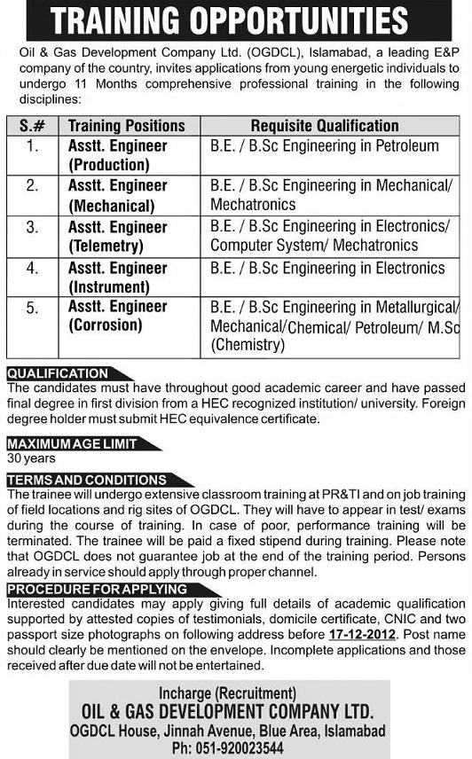 OGDCL Training Opportunities for Asisstant Engineers