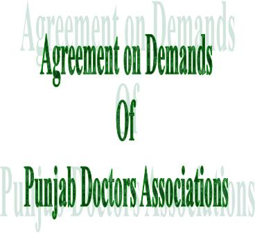 Copy of Punjab Doctors Agreement 2012 for demands including Service Structure