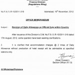 Notification Revision of Daily Allowance on Official Duty within country dated 16-11-2012