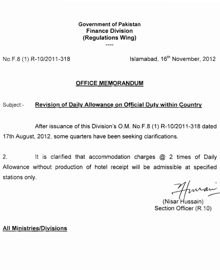 Notification of Daily Allowance Revision on Official Duty within Country
