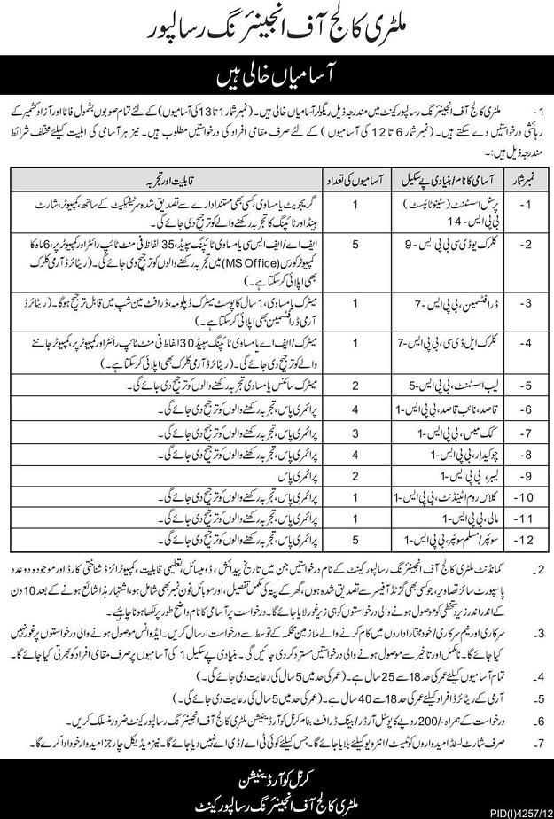 Jobs in Military Engineering College Risalpur Cant (Ad Daily Express Lahore dated 17/3/2013)